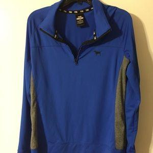 PINK VS Ultimate Half-Zip Blue Sweatshirt
